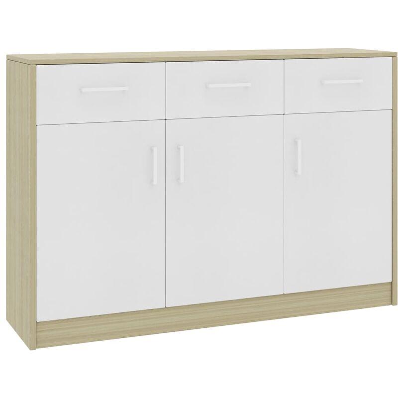 Sideboard 110x34x75cm Spanplatte Weiß Sonoma-Eiche - VIDAXL
