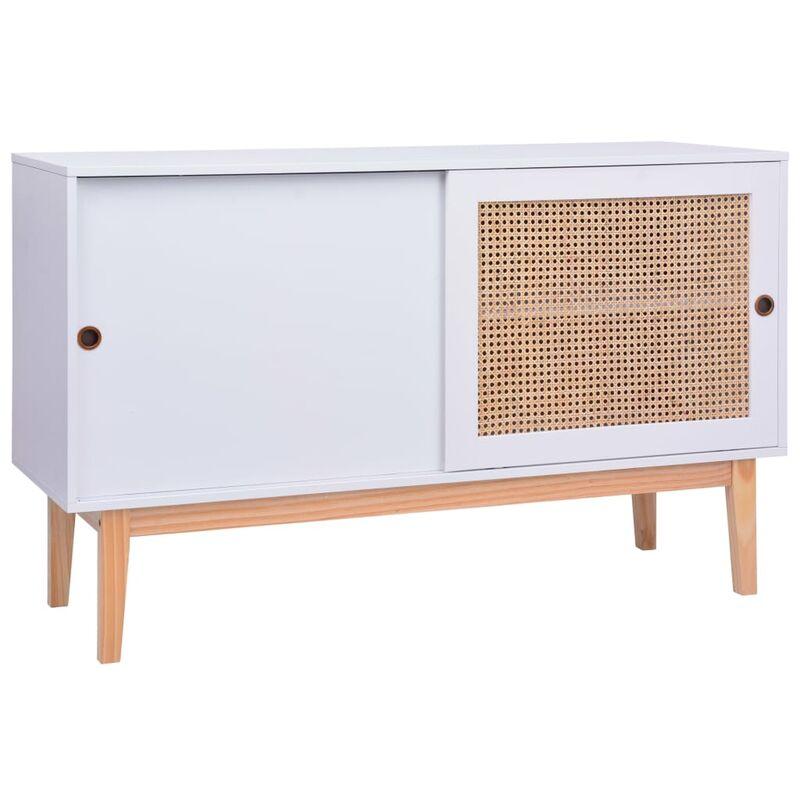 Vidaxl - Sideboard 130x40x80cm MDF Rattan Weiß