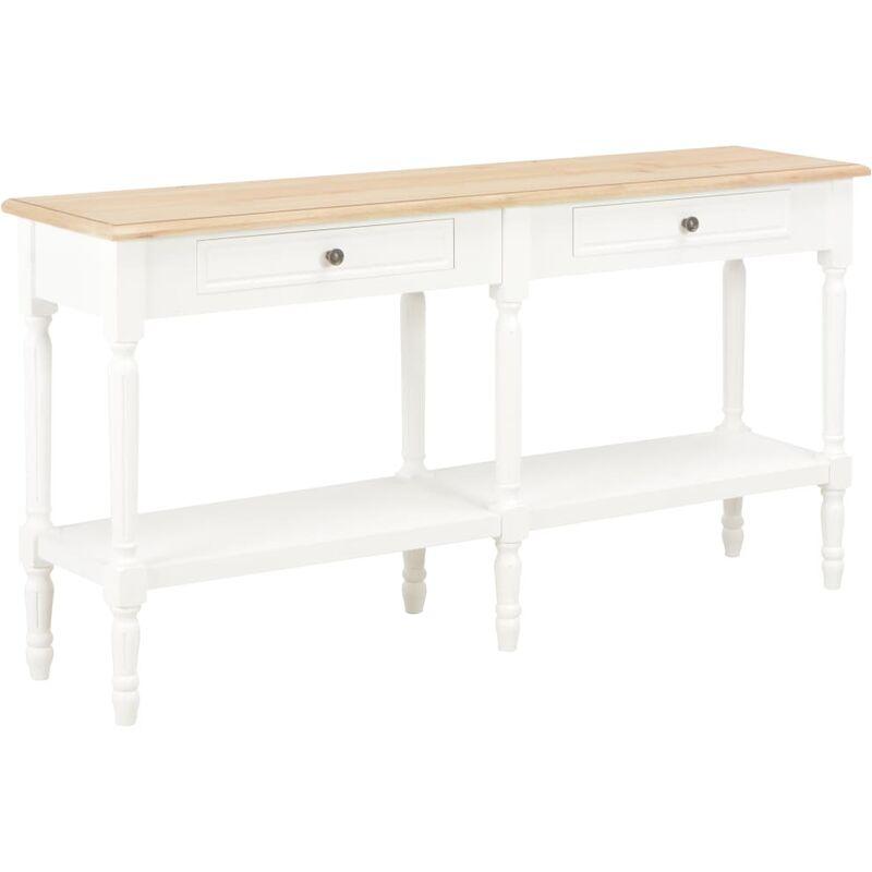 Sideboard 150x35x77cm Massivholz Weiß Braun - VIDAXL