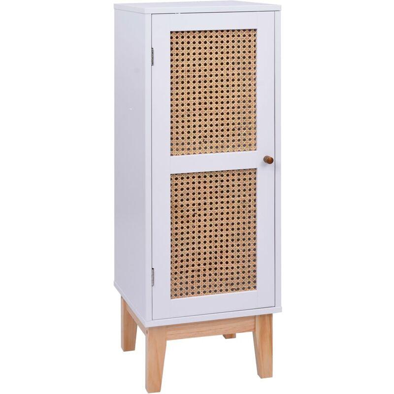 Sideboard Weiß 35x35x100 cm MDF und Rattan - VIDAXL