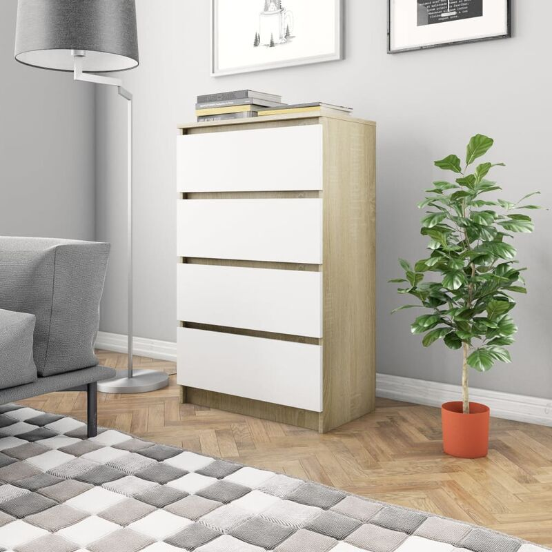 Sideboard 60×35×98,5cm Spanplatte Weiß Sonoma-Eiche - VIDAXL