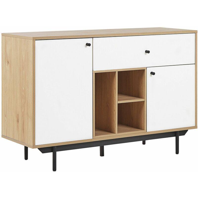 Beliani - Sideboard Hellbraun und Weiß Faserplatte Holzoptik mit Metallgestell Schublade 2 Türen 3 Fächern Wohn- und Schlafzimmer Flur Salon Möbel