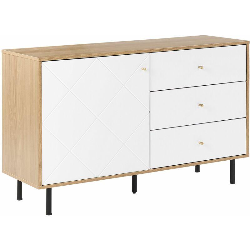 Sideboard Weiß Heller Holzfarbton MDF Platte Pulverbeschichtetes Metall Aluminium 77 x 118 x 40 cm Modern 3 Schubladen Mit Tür Wohnzimmer - BELIANI