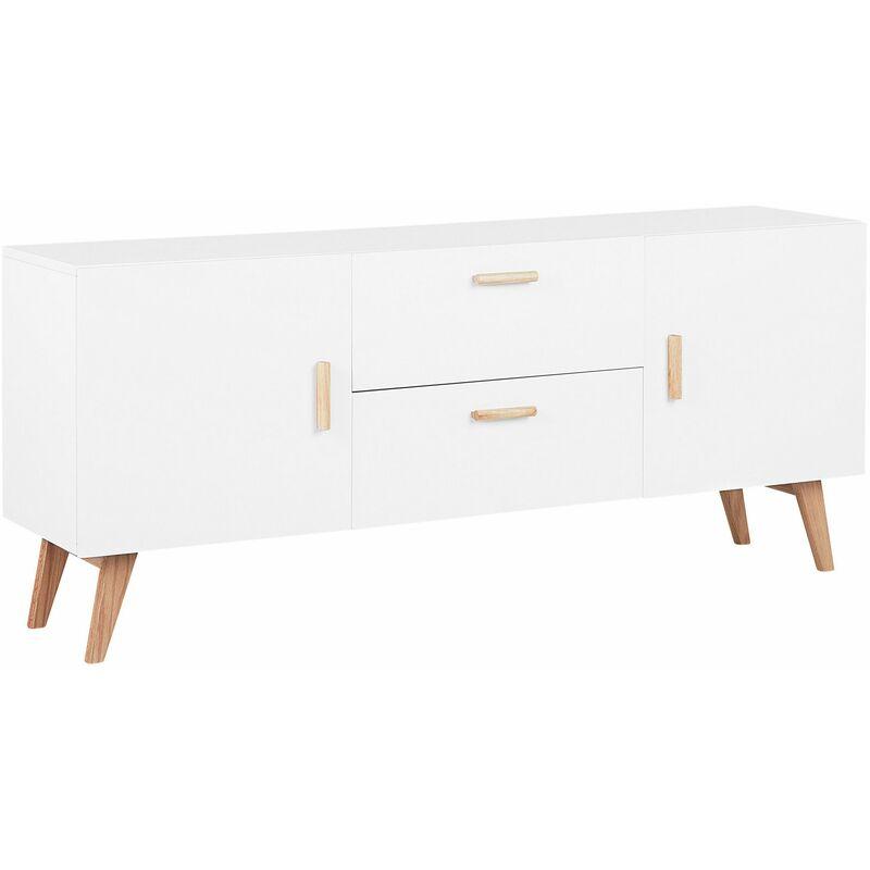 Beliani - Sideboard weiß MDF Platte Eichenholz 70 x 160 x 42 cm Retro Minimalistisch Mit Beinen Aus Buchenholz Viel Stauruam Elegant Wohnzimmer