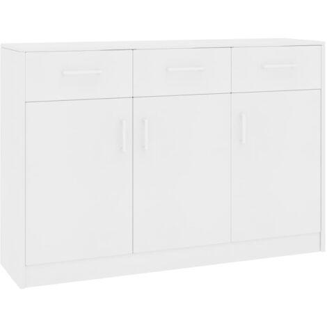 Sideboard White 110x34x75 cm Chipboard