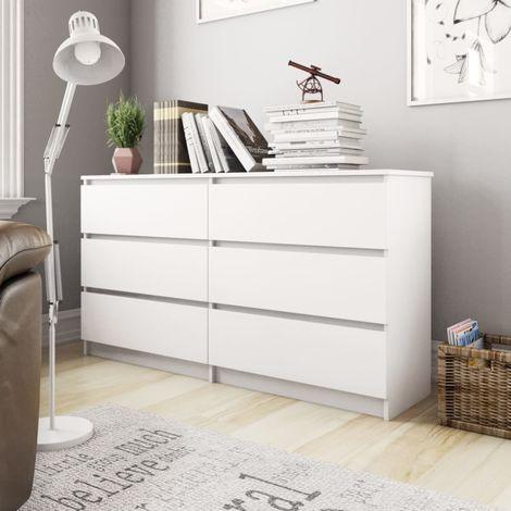 Sideboard White 140x35x77 cm Chipboard