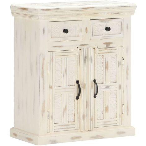Sideboard White 65x30x75 cm Solid Mango Wood
