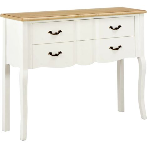 Sideboard White and Brown 110x30x85 cm Solid Wood