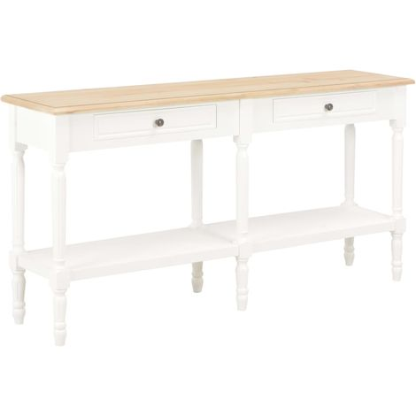 Sideboard White and Brown 150x35x77 cm Solid Wood