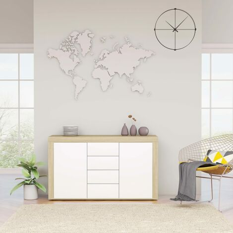 Sideboard White and Sonoma Oak 120x36x69 cm Chipboard
