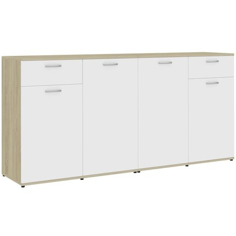 Sideboard White and Sonoma Oak 160x36x75 cm Chipboard