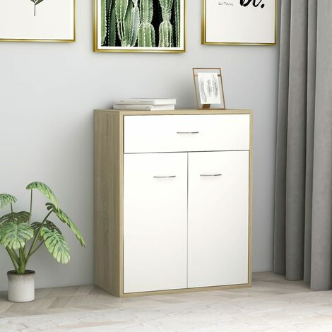 Sideboard White and Sonoma Oak 60x30x75 cm Chipboard