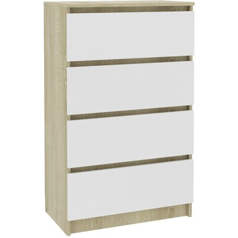 Sideboard White and Sonoma Oak 60x35x98.5 cm Chipboard