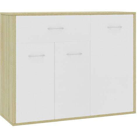 Sideboard White and Sonoma Oak 88x30x70 cm Chipboard