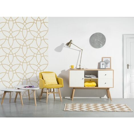Sideboard White with Light Wood VALDEZ