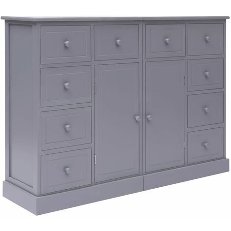 Sideboard with 10 Drawers Grey 113x30x79 cm Wood
