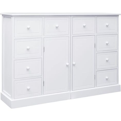 Sideboard with 10 Drawers White 113x30x79 cm Wood