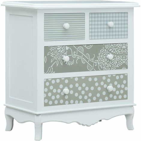 Sideboard with 4 Drawers White and Grey 65.5x35x68 cm MDF - White