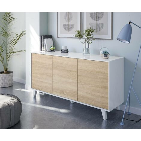 Sideboard with three doors and three shelves, oak and glossy white colour, 154 x 75 x 41 cm.