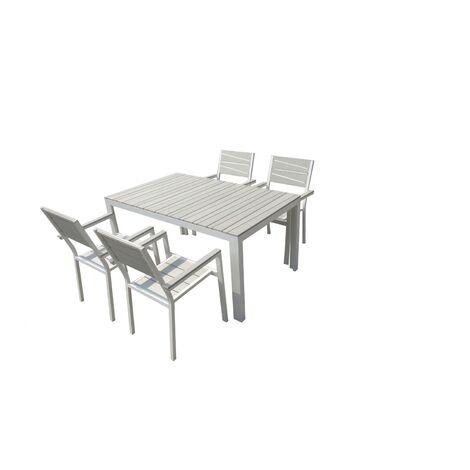 Siderno 4 : Salon de jardin en aluminium et polywood gris / blanc ...