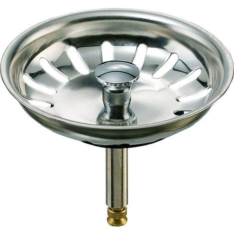 Siebkorb Ø 81mm mit Hubstange Ø 8 x 53mm bis 62mm incl. Dichtung Ø 43mm, passend für Küchenspülen mit Excenterbedienung, 3 1/2 Zoll Ablaufventil - z.B. Teka Spülen