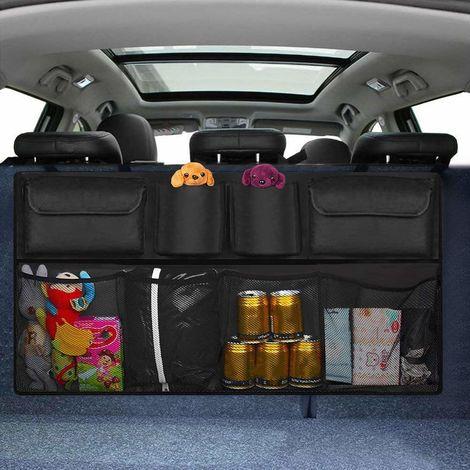 Siège arrière pour organisateur de coffre de voiture, 8 poches pour garder la voiture propre et organisée, stockage de filet de cargaison pliable durable pour plus d'espace dans le coffre, organisateur de voiture sécurisé avec sangles réglables pour s'ada