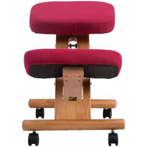 Siège assis-genoux Deluxe - piétement bois, carmin
