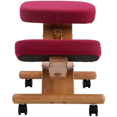 Siège assis-genoux - piétement bois, carmin