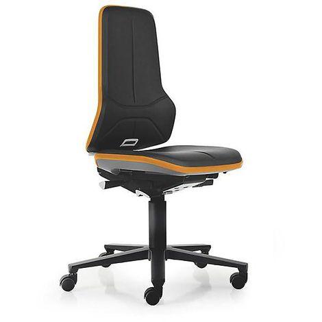 Siège d'atelier NEON, assise en similicuir, noir/orange