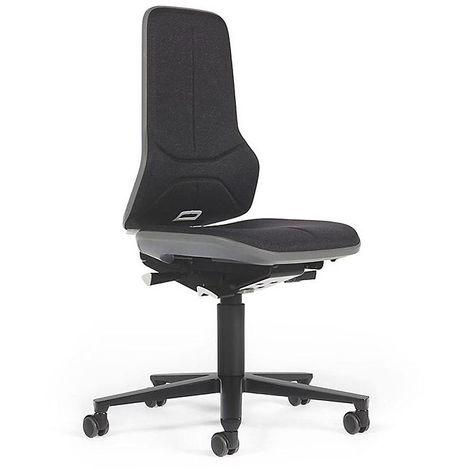 Siège d'atelier NEON, assise en tissu, noir/gris - Coloris assise et dossier: noir