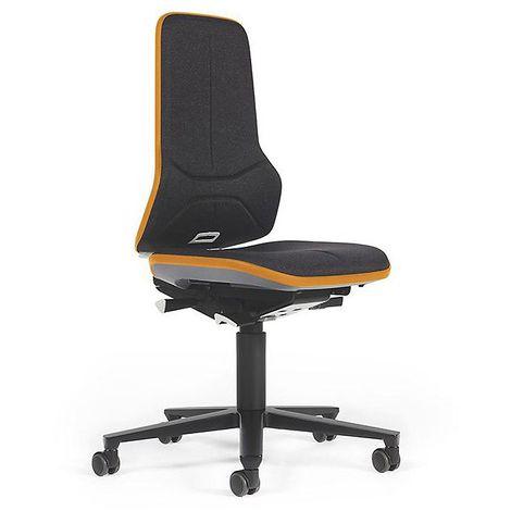 Siège d'atelier NEON, assise en tissu, noir/orange