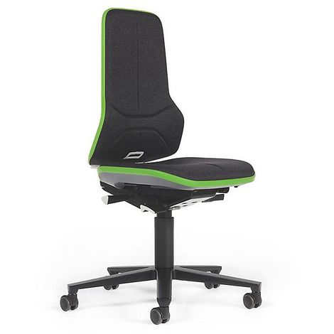 Siège d'atelier NEON, assise en tissu, noir/vert
