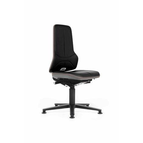 Siège d'atelier NEON avec patins, assise en similicuir, noir/gris - Coloris assise et dossier: noir
