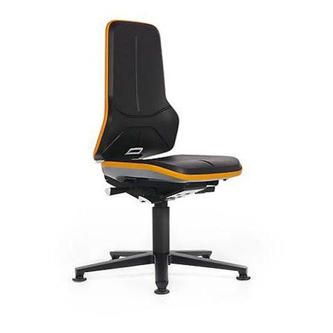 Siège d'atelier NEON avec patins, assise en similicuir, noir/orange