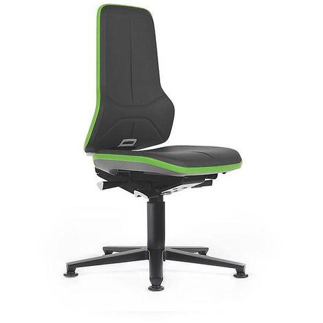 Siège d'atelier NEON avec patins, assise en similicuir, noir/vert - Coloris assise et dossier: noir