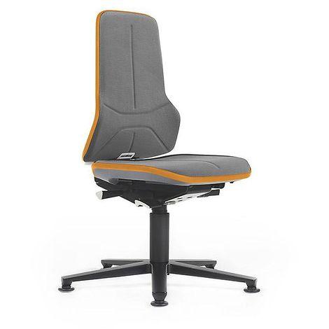 Siège d'atelier NEON avec patins, assise en Supertec, gris/orange