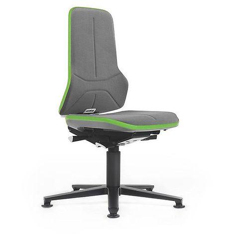 Siège d'atelier NEON avec patins, assise en Supertec, gris/vert - Coloris assise et dossier: Gris