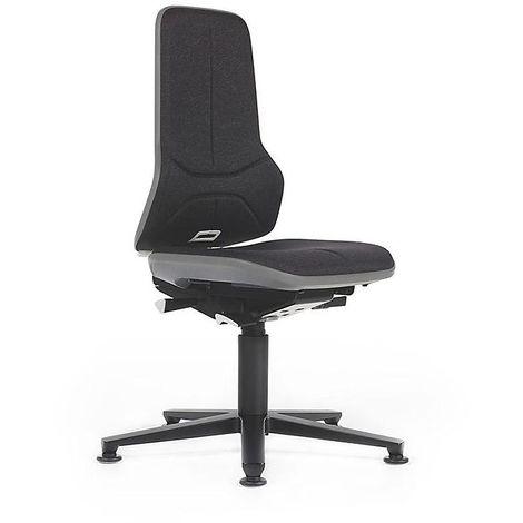 Siège d'atelier NEON avec patins, assise en tissu, noir/gris - Coloris assise et dossier: noir