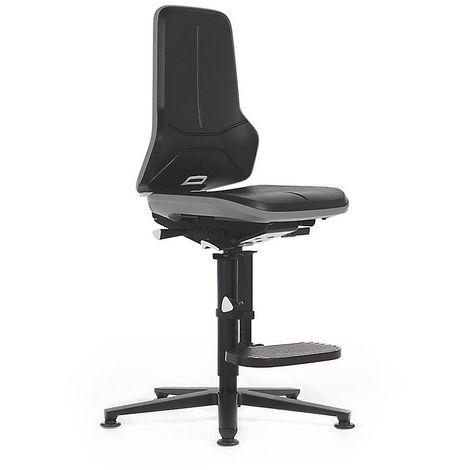 Siège d'atelier NEON, avec patins et repose-pieds, assise en mousse intégrale, noir/gris