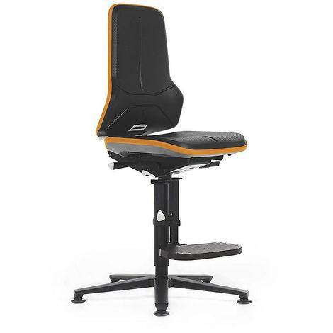 Siège d'atelier NEON, avec patins et repose-pieds, assise en mousse intégrale, noir/orange