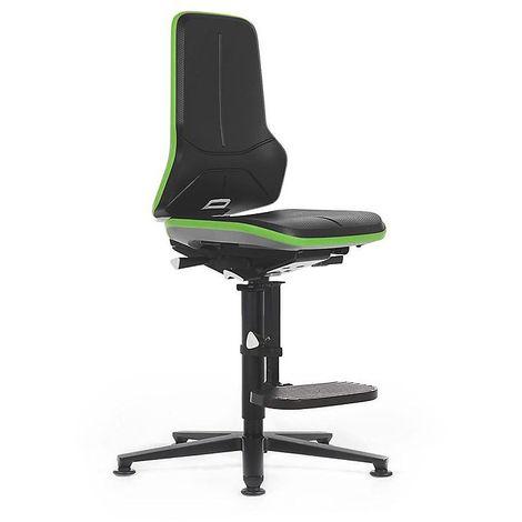 Siège d'atelier NEON, avec patins et repose-pieds, assise en mousse intégrale, noir/vert
