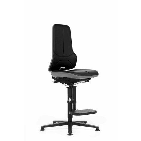 Siège d'atelier NEON, avec patins et repose-pieds, assise en similicuir noir / gris