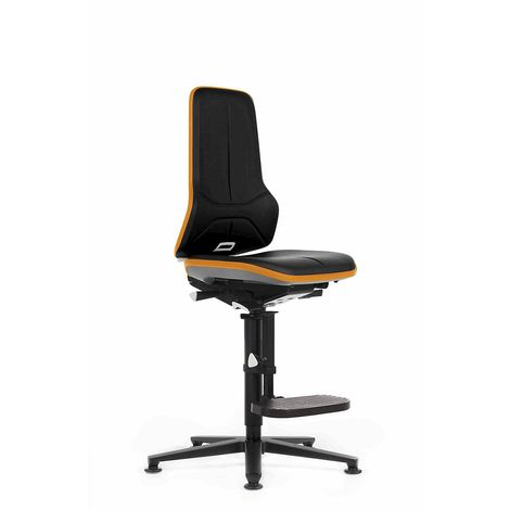 Siège d'atelier NEON, avec patins et repose-pieds, assise en similicuir noir / orange