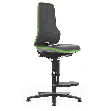 Siège d'atelier NEON, avec patins et repose-pieds, assise en similicuir noir / vert