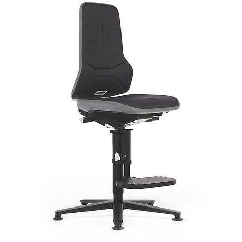 Siège d'atelier NEON, avec patins et repose-pieds, assise en tissu, noir/gris