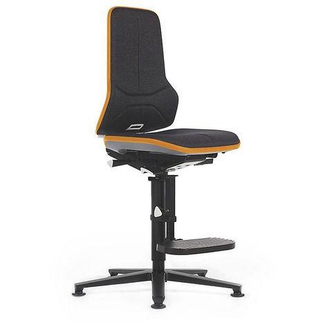 Siège d'atelier NEON, avec patins et repose-pieds, assise en tissu noir/orange
