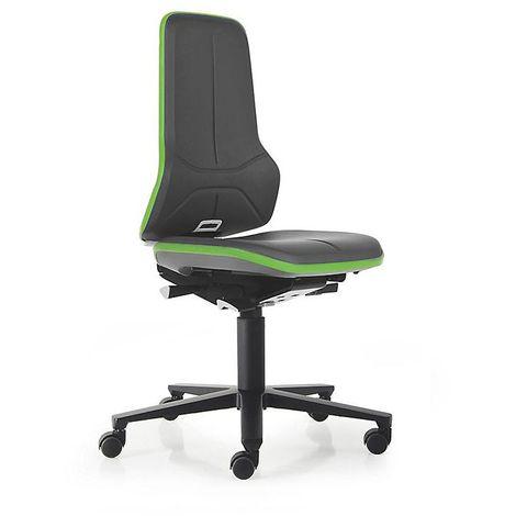 Siège d'atelier NEON avec roulettes, assise en similicuir, noir/vert