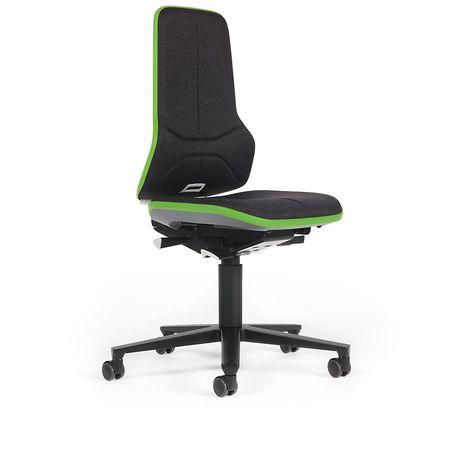Siège d'atelier NEON avec roulettes, assise en tissu, noir/vert