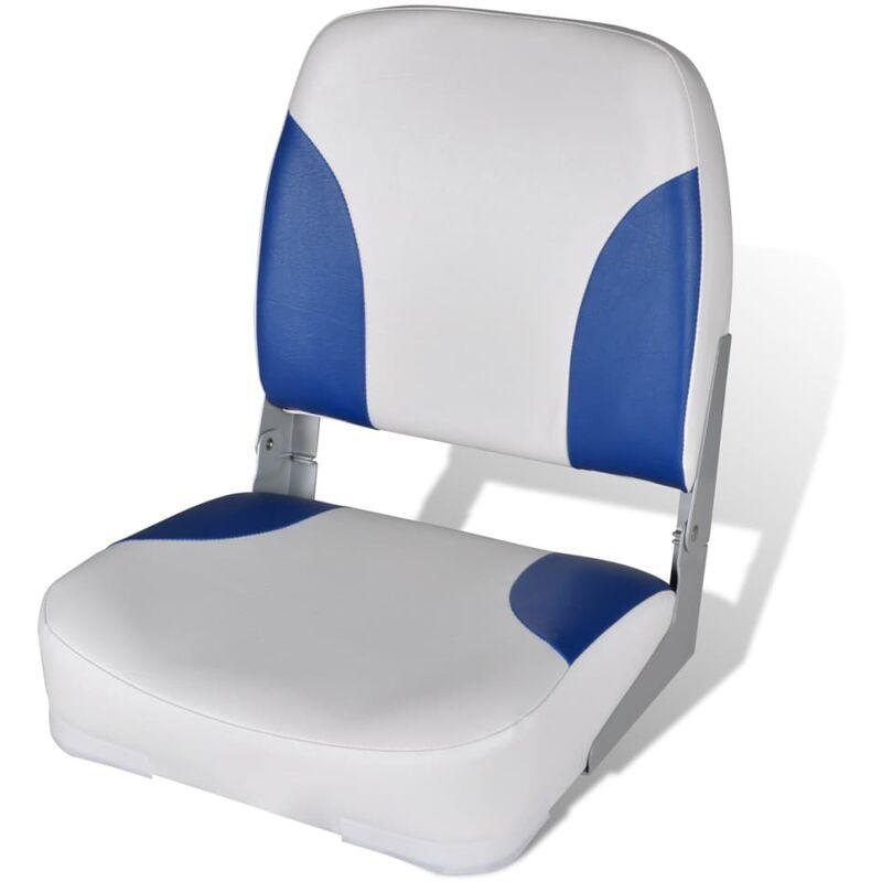 Siège de bateau à dossier et oreiller Bleu-blanc 41x36x48 cm