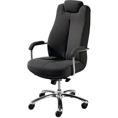 Siège de bureau pivotant - siège de direction, habillage tissu - gris foncé, appuie-tête fixe